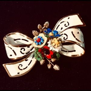 Rare Coro enameled & beaded colorful bow brooch